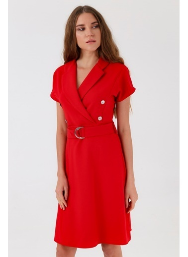 Jument Sentos Yakalı Anvelop Düğmeli Kemerli Volanlı Elbise Kırmızı